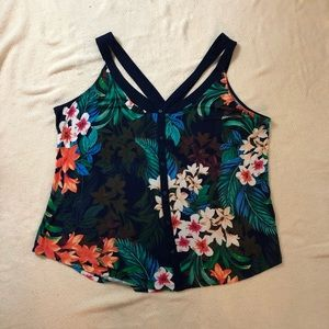 XL Candies Hawaiian print tank faux button front